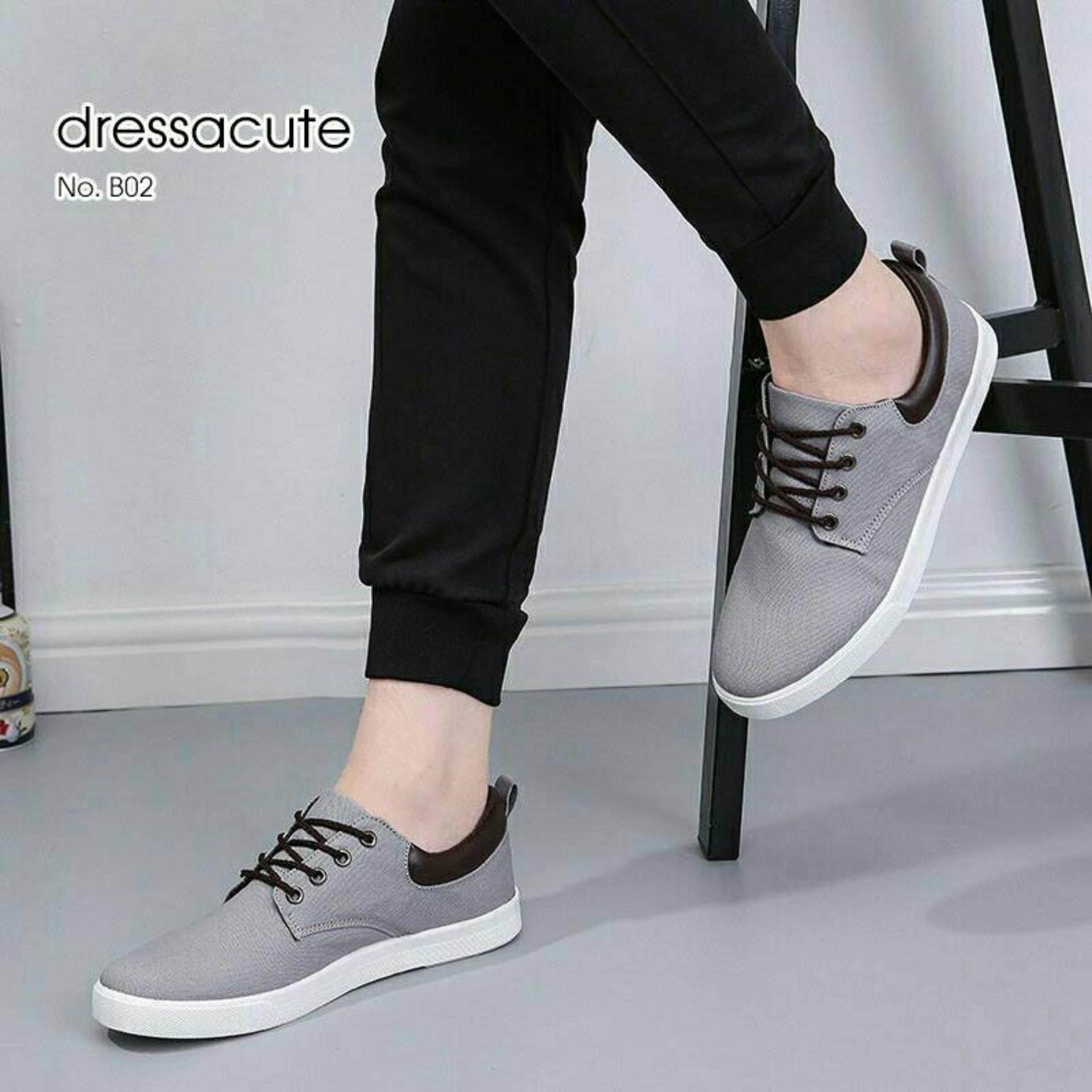 ราคา รองเท้าผ้าใบ ขอบนวม แต่งหนัง แบบผูกเชือก รุ่น B02 สีเทา ใหม่