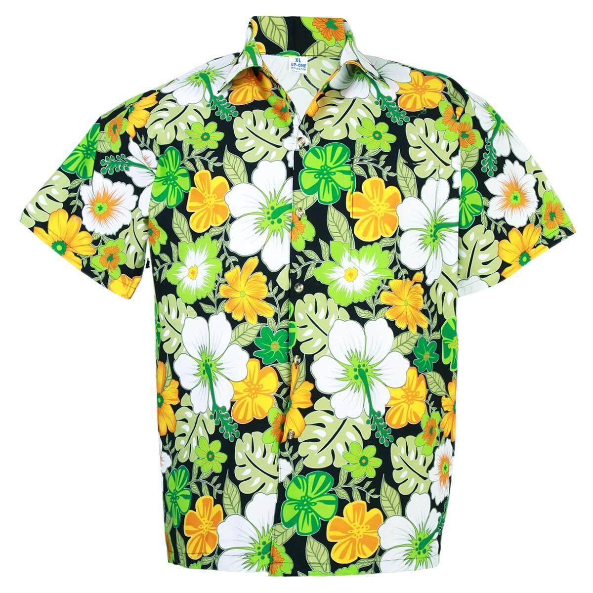 ซื้อ Hawaiian Shirt Cotton เสื้อเชิ้ตฮาวาย Colorful Flower Leisure Beach Holiday รุ่น Cotton Hd909 Un Branded