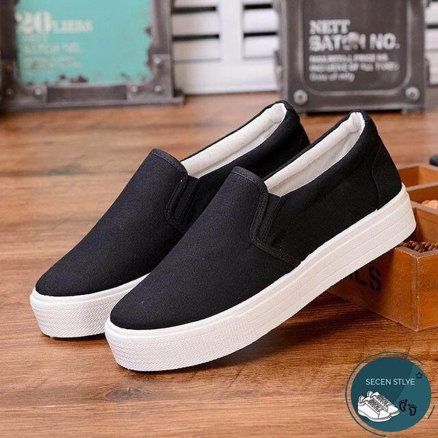โปรโมชั่น Secen Style สำหรับผู้หญิง รองเท้าผ้าใบแบบสวม สวมใส่สบาย ใส่ได้หลายโอกาส สีขาว สีดำ ถูก