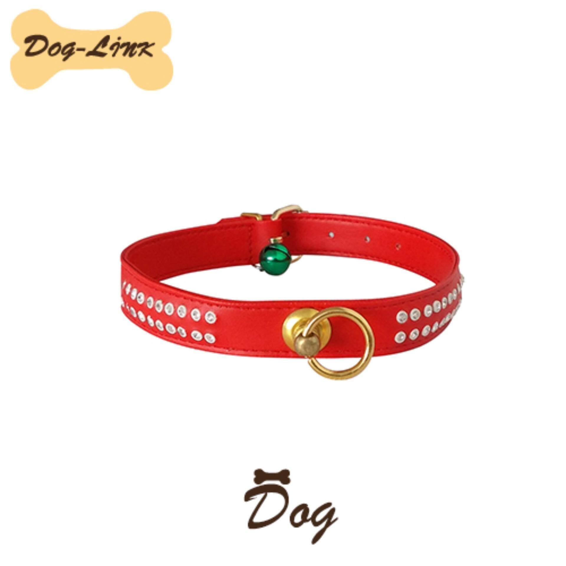 Dog-Link ปลอกคอเพชร 16 mm. สีแดง
