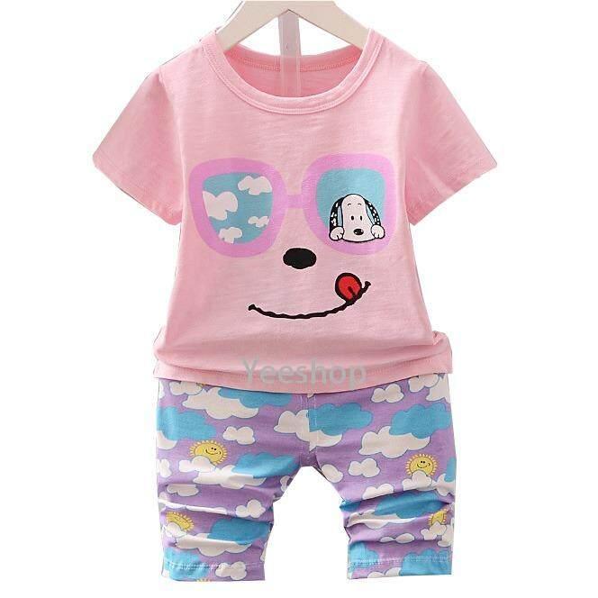 ความคิดเห็น Yeeshop ชุดเสื้อผ้าเด็กเข้าชุด ลายหมาวันตาก้อนแม่น่ารัก สีชมพู 120 1 3Years