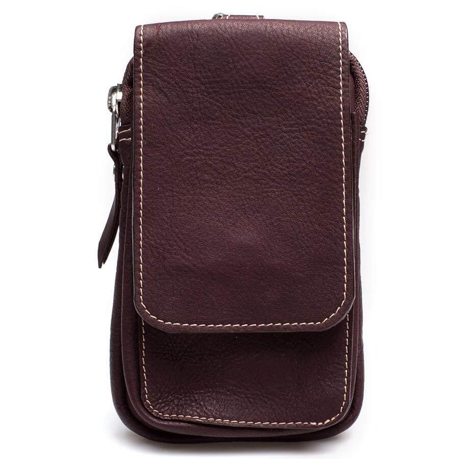 Chinatown Leather กระเป๋าหนังแท้ใส่มือถือร้อยเข็มขัด หนังชาร์มัวร์ (สีน้ำตาล)