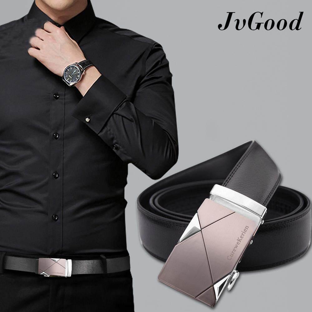ราคา ราคาถูกที่สุด Jvgood เข็มขัดผู้ชาย เข็มขัด เข็มขัดหนังแท้ แบบหัวล๊อคอัตโนมัต สายหนังสีดำ Men Blet