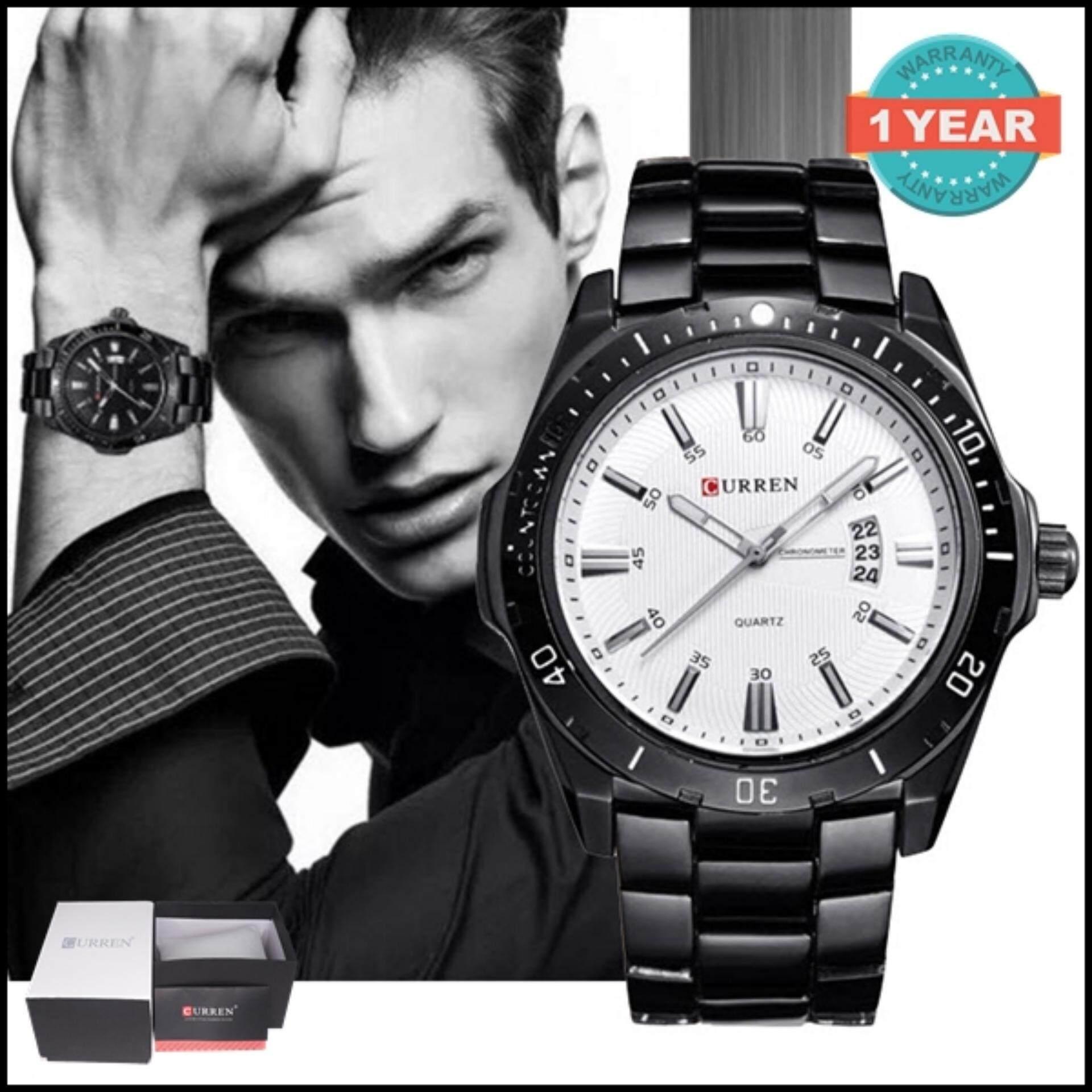 Curren นาฬิกาข้อมือสุภาพบุรุษ Black White สายสแตนเลส รุ่น C8110 เป็นต้นฉบับ