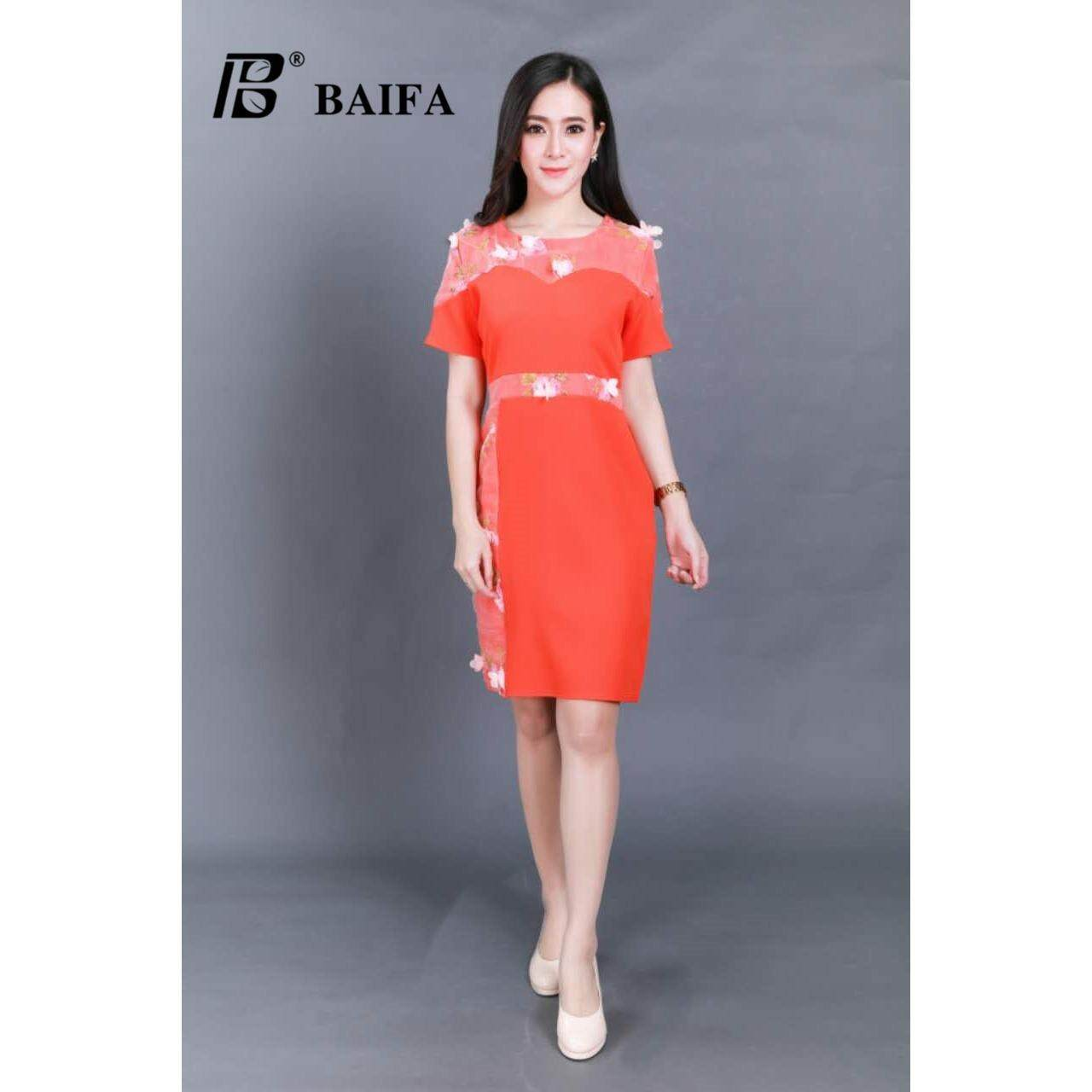 ขาย Baifa Shop ชุดเดรสดำเอวระบาย ลูกไม้ผ้าเนื้อดี ไม่ต้องรีด ทรงสวยหรู รุ่น3302 Size อก 34 38 ยาว 36 Baifa