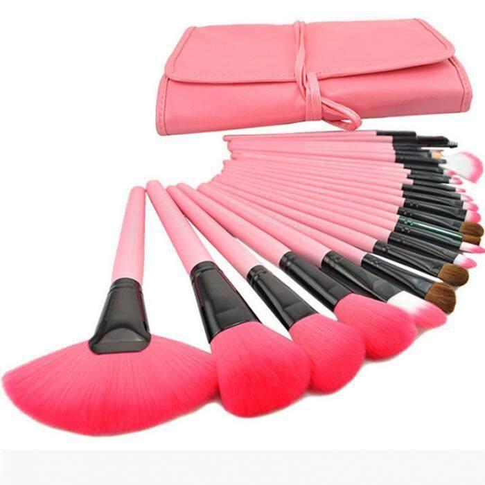 ราคา ชุดแปรงแต่งหน้า 24 ชิ้น ขนสังเคราะห์นิ่มพิเศษ Pink Unbranded Generic