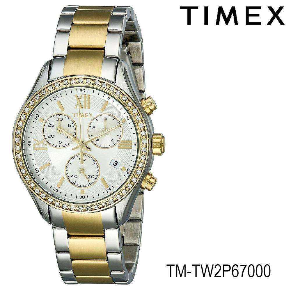 ราคา Timex Tm Tw2P67000 นาฬิกาข้อมิอผู้หญิง สายสแตนเลส สีเงิน ทอง เป็นต้นฉบับ