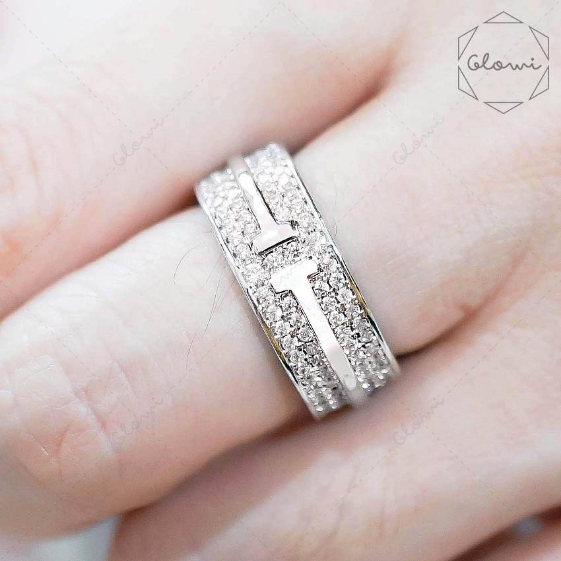 ส่วนลด Bewi G แหวนชุบทองคำขาว ฝังเพชร Cz ล้อมรอบวง 2 ชั้น สไตล์ Cartier รุ่น Bg R0053 สีเงิน Silver