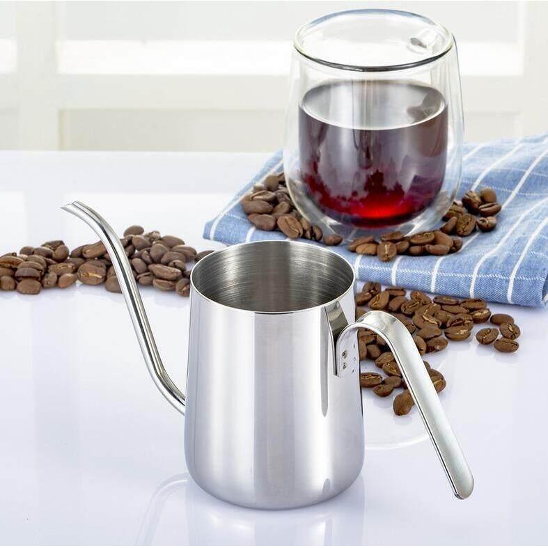 ราคา 350 มิลลิลิตรสแตนเลส Pour มือหยดกาแฟหม้อ Long Gooseneck Spout กาต้มน้ำ Silver ใน จีน