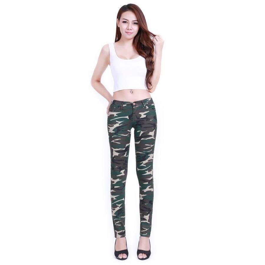 ขาย Eiffel Jeans กางเกงยีนส์ สกินนี่ ขายาว ลายทหาร D16 สีเขียว เหลือง ถูก ไทย
