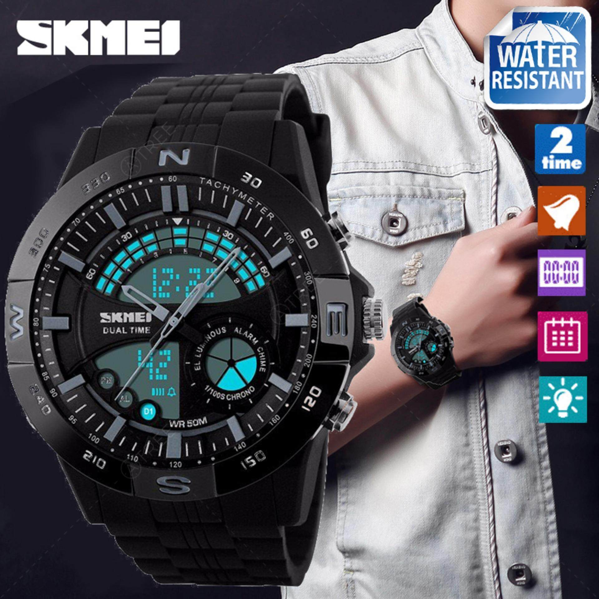 ซื้อ Skmei ของแท้ 100 ส่งในไทยไวแน่นอน นาฬิกาข้อมือผู้ชาย สไตล์ Sport Digital Watch ใช้ได้ทั้ง Digital และ Analog บอกวันที่ ตั้งปลุก จับเวลา กันน้ำ สายเรซิ่นสีดำ รุ่น Sk M1110 สีดำ Black Skmei