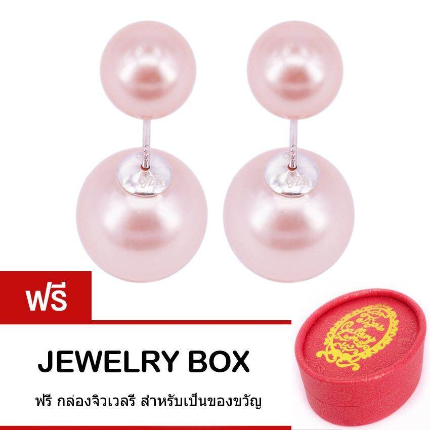 ทบทวน Tips Gallery ต่างหูมุกแท้ ไข่มุกเปลือกหอยแท้ ธรรมชาติ Pink Fresh Water Pearl Duo Le Pearl Design Earring Tes134
