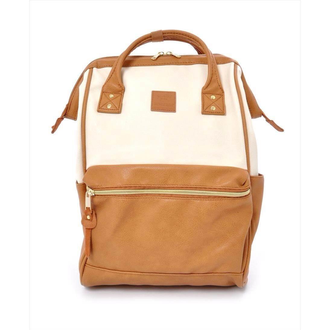 โปรโมชั่น กระเป๋าเป้ Japan Imported Anello ของแท้ 100 Pu Backpack Rucksack Ivory Camel Beige