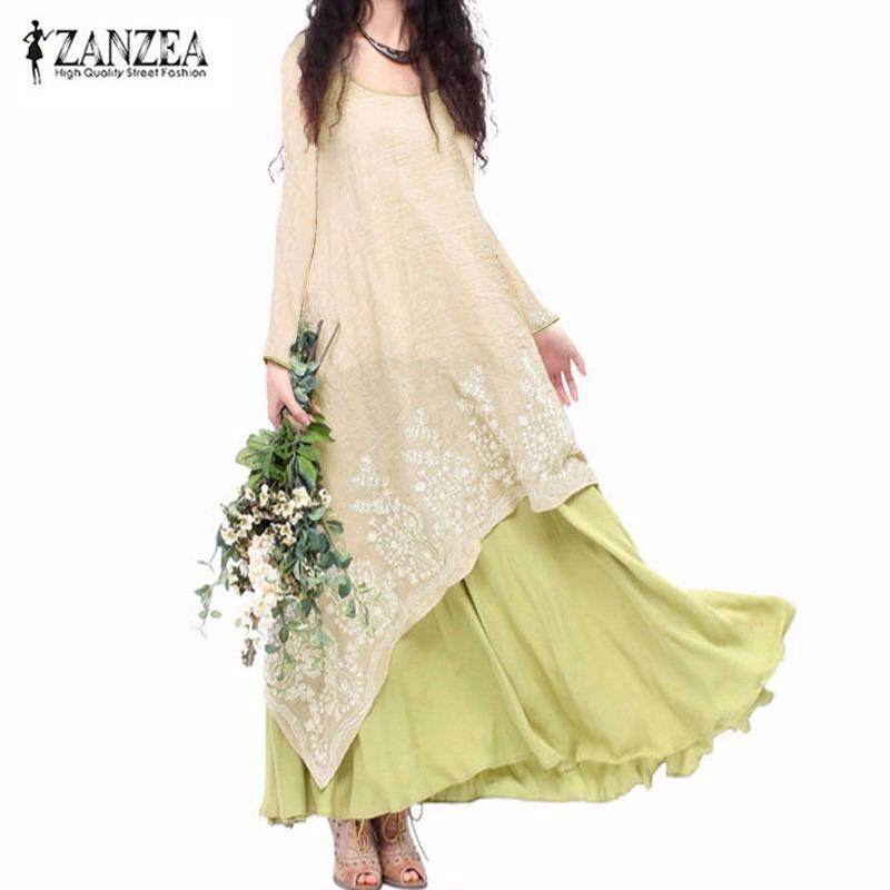 ส่วนลด Zanzea Fake Two Piece Bohemian Cotton Linen Vestido Long Sleeve Crew Neck Flower Embroidery Simple Autumn Leisure Maxi Dress Light Green Intl
