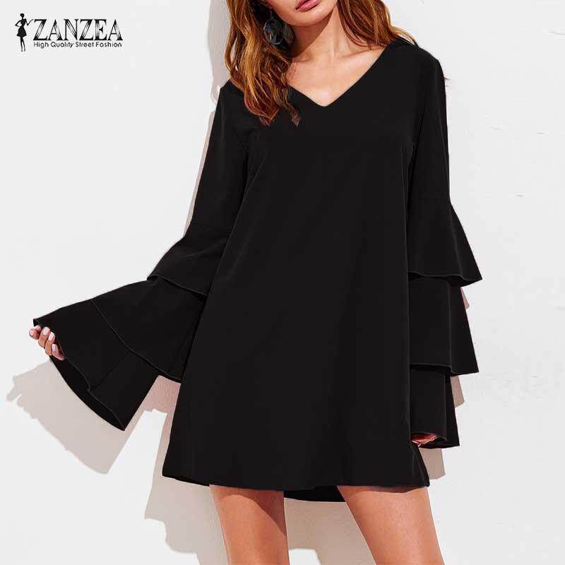 ราคา Zanzea Fashion Women V Neck Long Flare Bell Sleeve Solid Ol Party Loose Mini Dress Casual Brief Blusas Short Vestido S 5Xl Intl ที่สุด