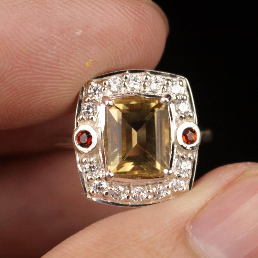 ขาย พลอยแท้ แหวนเงินแท้92 5 ประดับพลอยซิทริน Citrine ไซส์แหวน 55 7 Us พลอยแท้ธรรมชาติ ดีไซน์ทันสมัย Ppgemstone
