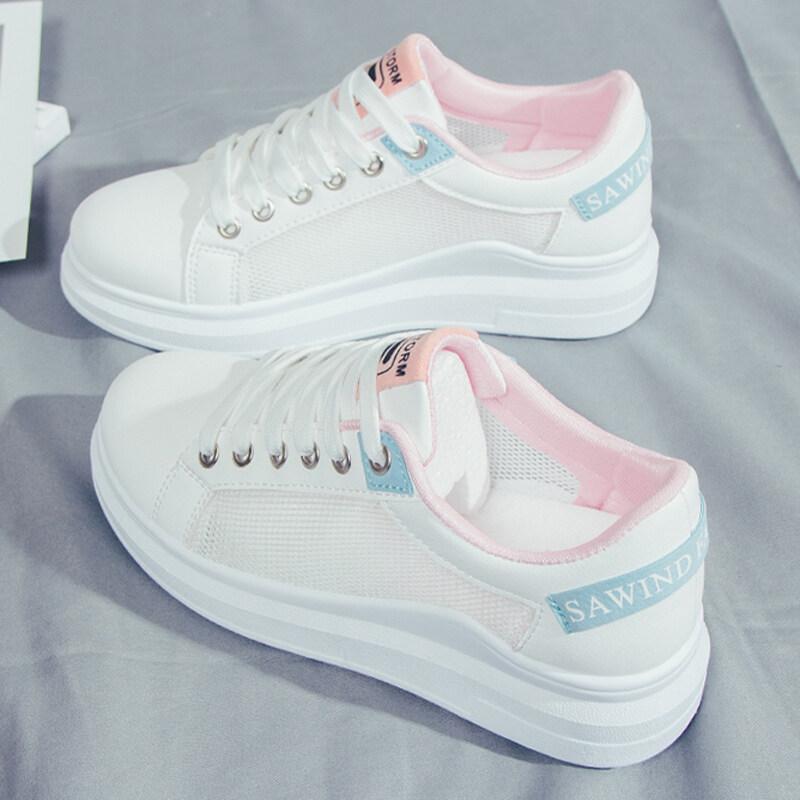 M Two Shop รองเท้าส้นเตี้ยสีขาวลูกไม้สายใหม่ของผู้หญิงกีฬารองเท้าผ้าใบลำลอง【พรีเซลล์6วัน】.