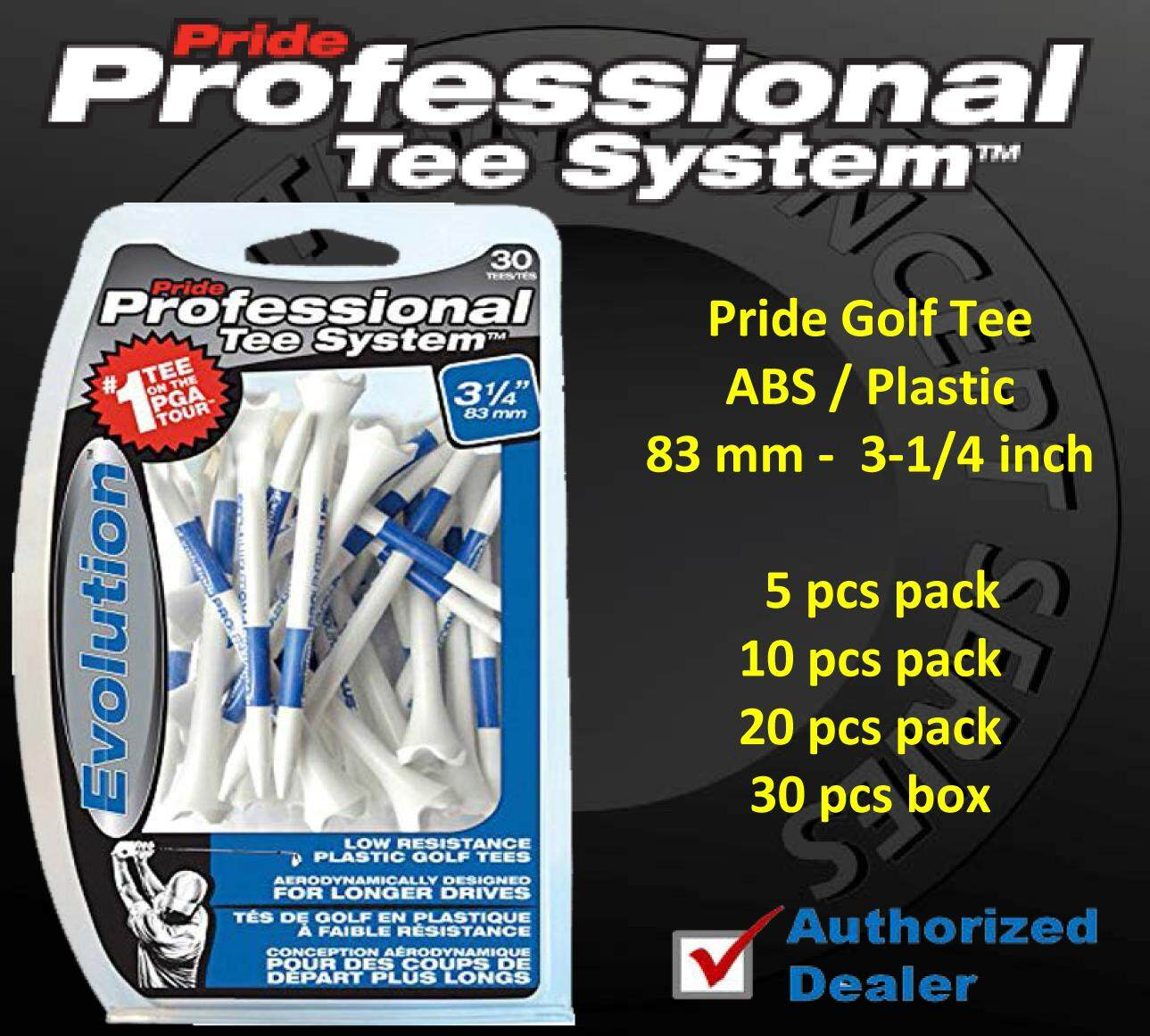 Pride Golf Evolution Professional ABS Plastic Tee`s ( 83 mm - 3-1/4 inch ) 5/10/20/30 pcs. Pack