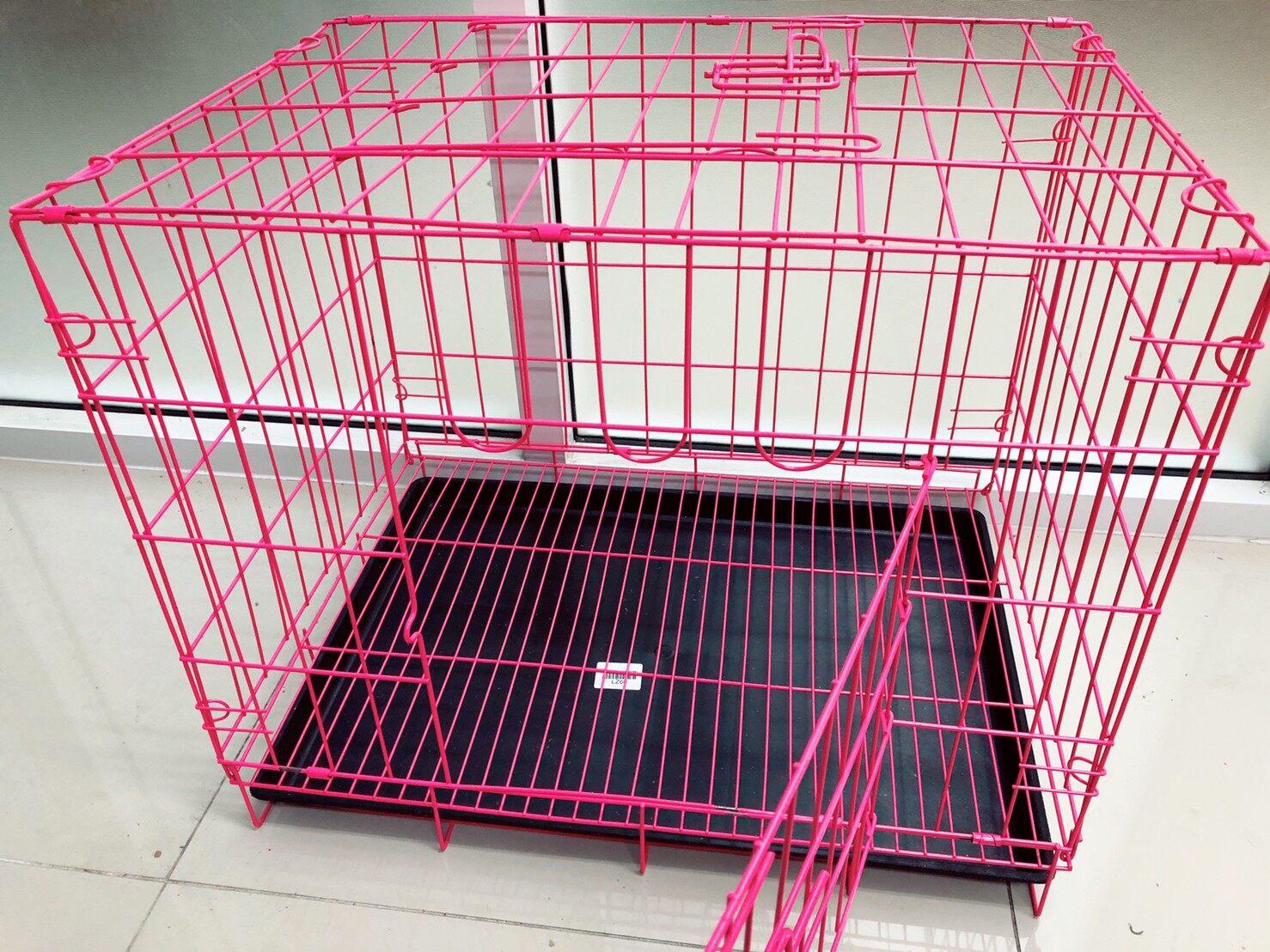 กรงสุนัข กรงแมว กรงสัตว์เลี้ยง สามารถเปิดได้ฝาบน มีถาด สีดำ ขนาด 60*42*50 CM สินค้าพร้อมส่ง