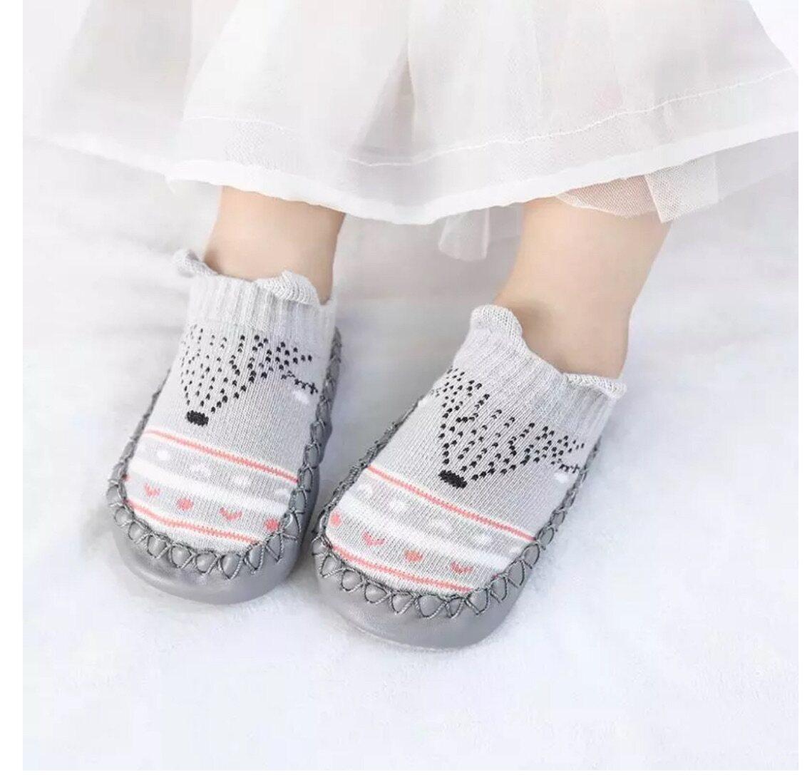 ถุงเท้าเด็กหัดเดินทารกเด็กแรกเกิดชายหญิง พื้นกันลื่น รองเท้าเด็ก ลายการ์ตูนสัตว์น่ารัก ด้านล่างน่มผ้าฝ้าย สำหรับ1-3ปี.