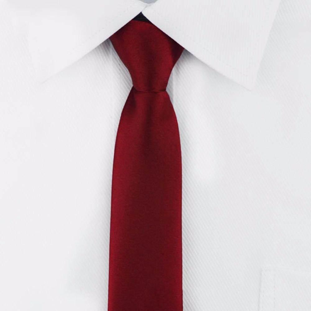 เนคไท ไม่ต้องผูก แบบซิป Neck Tie Mens Skinny Zipper Ties Red Black Blue Solid Color Slim Narrow Bridegroom Party Dress Necktie