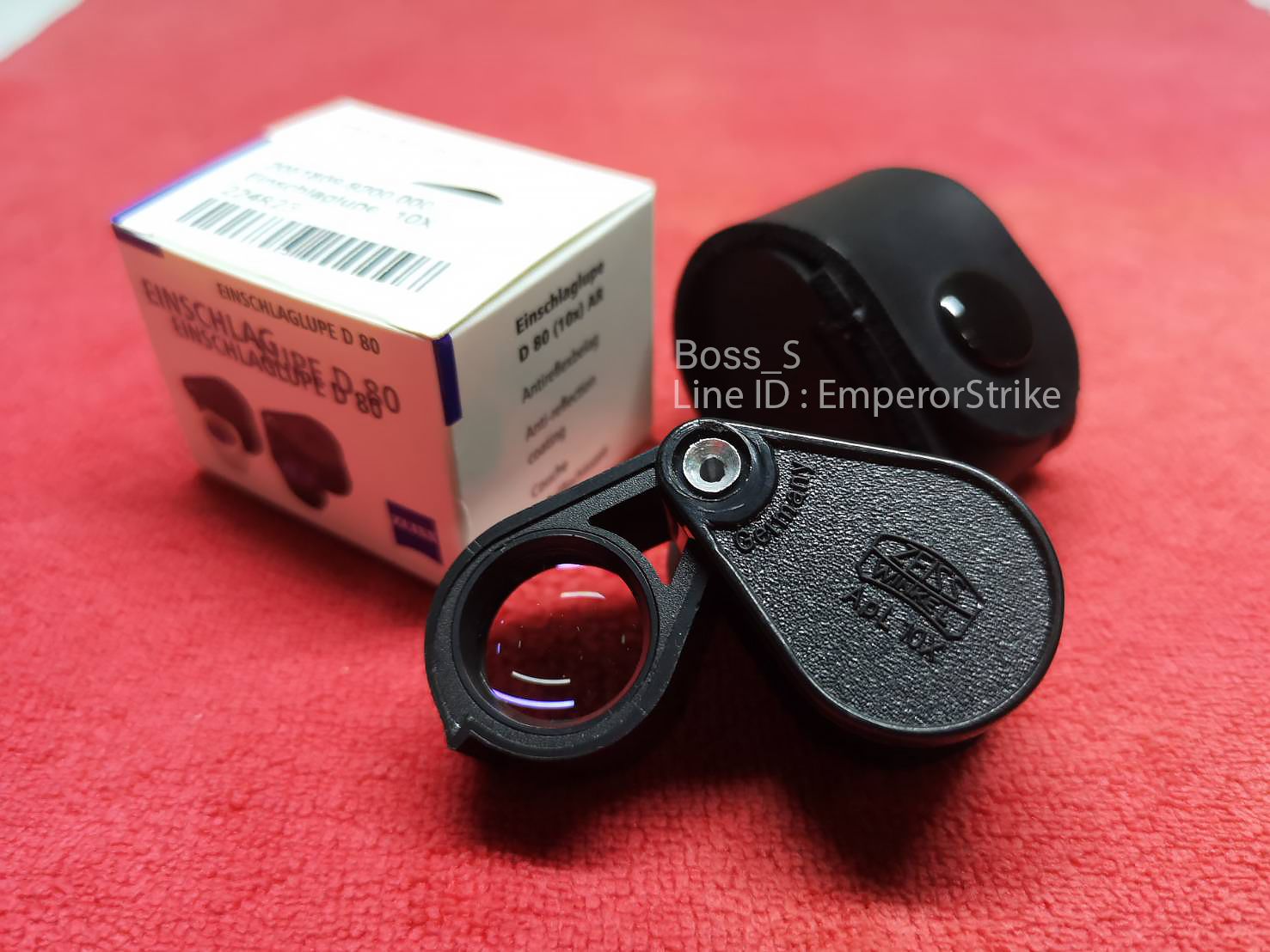กล้องส่องพระ/ส่องเพชร มืออาชีพ Zeiss Winkel D80 Triplet Lens Made In Bararus สีดำทมิฬ 10x18mm เลนส์แก้ว 3ชั้นมัลติโค๊ตสีฟ้าตัดแสง ฟรีซองหนังตรงรุ่น.