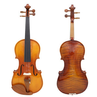 Harga Full Size 4/4 Natural Acoustic Solid Wood Spruce Flame Maple Veneer Violin Fiddle for Beginner Student Performer Jujube Wood Parts with Case Rosin Wiper Christmas Gift Present