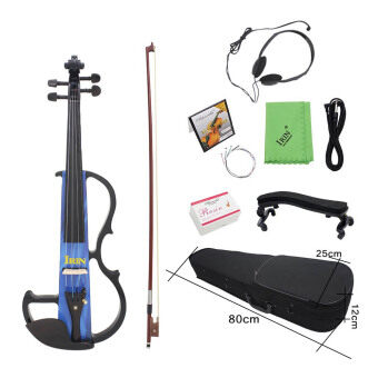 "Harga Full Size 4/4 Electric Violin Fiddle Maple Wood Stringed Instrument Ebony Fretboard Chin Rest with 1/4"" Connecting Cable Earphone Case for Music Lovers Beginners Outdoorfree - Intl"