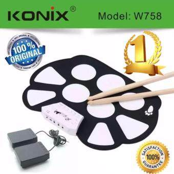Harga Konix W758 กลองไฟฟ้าพับได้ Roll Up Electric Drum Kit + Drum Stick + Sustain Peddal