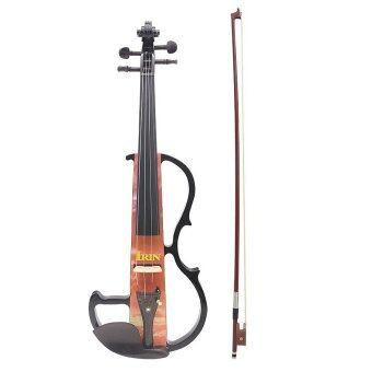"Harga Full Size 4/4 Electric Violin Fiddle Maple Wood Stringed Instrument Ebony Fretboard Chin Rest with 1/4"" Connecting Cable Earphone Case for Music Lovers Beginners"