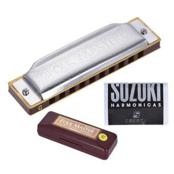 Suzuki 1072-C Folkmaster Standard 10-Hole Diatonic Harmonica Key of C 20 Tone for Beginner Student Outdoorfree - intl