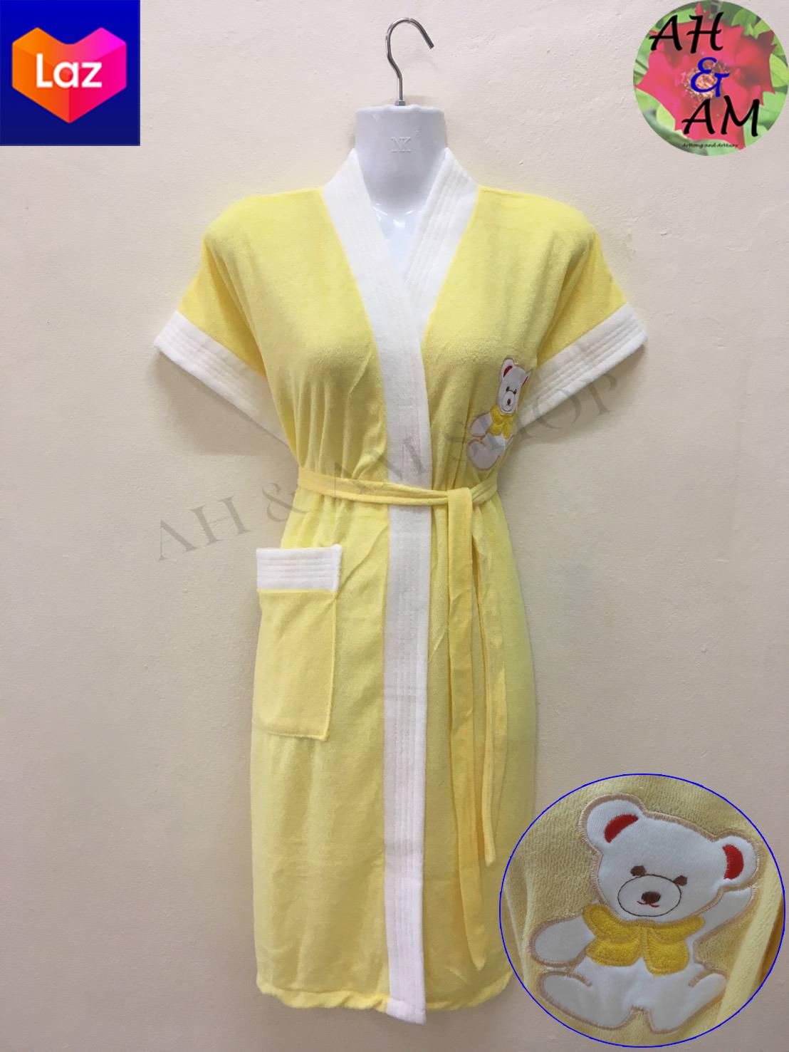 เสื้อคลุมอาบน้ำ ชุดคลุมอาบน้ำ ปักหมี หลากสี กว้าง 46 นิ้ว ยาว 36 นิ้ว ผ้าขนหนู นุ่ม ไม่เป็นขุย