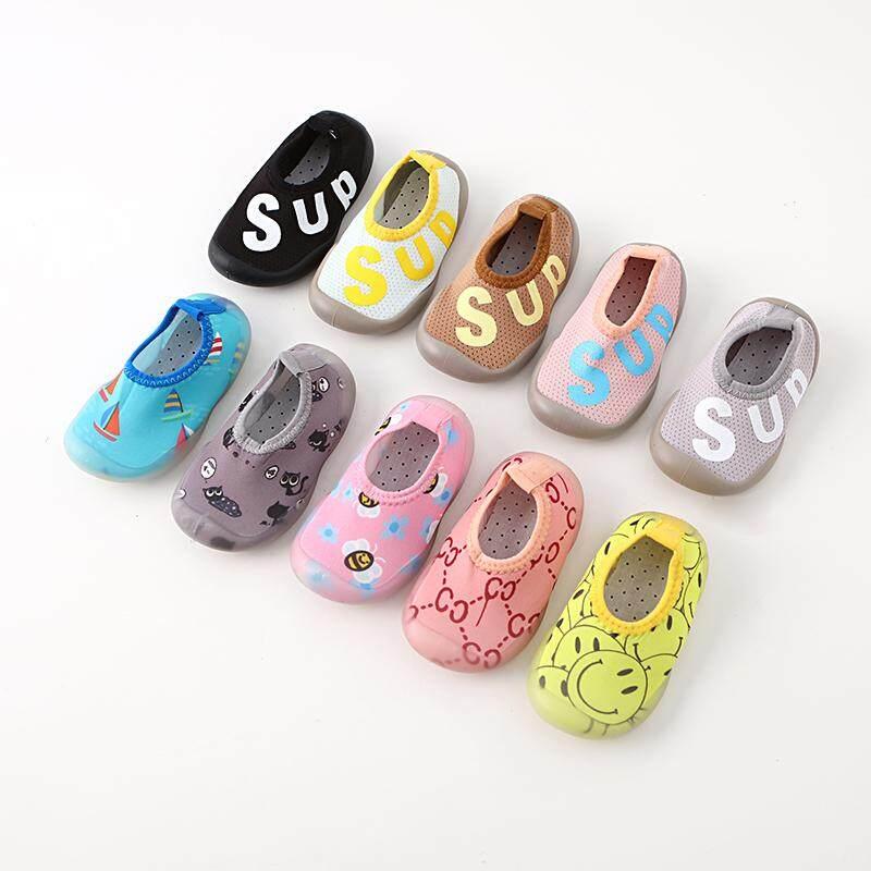 รองเท้าเด็ก รองเท้าหัดเดิน รองเท้าพื้นยางซิลิโคน กันลื่น สำหรับ เด็กแรกเกิดถึง3ปี *ลายแฟชั่นหน้ายิ้ม A8