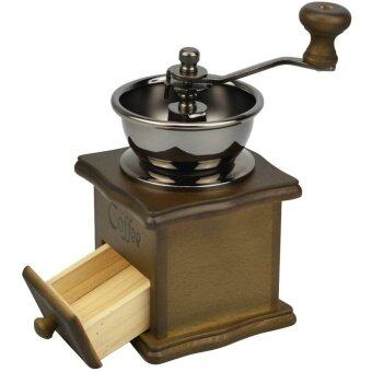 Harga Manual Coffee Grinder Retro Wood Design Coffee Mill Maker Grinders Coffee Bean Grinder Hand Conical Burr
