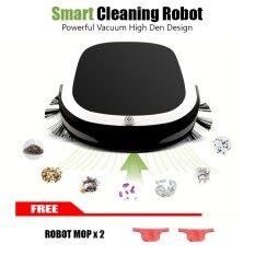 Shopgadget เครื่องดูด หุ่นยนต์ ดูดฝุ่น ถูพื้น อัตโนมัติRobot Vacuum Cleaner + 2 PCS  ผ้าถู (สีดำ)