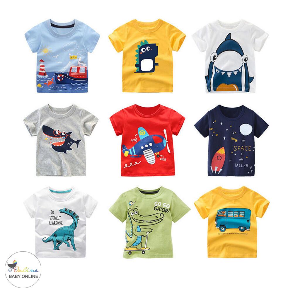 Babyonline(y272)a3เสื้อยืดคอกลมลายการ์ตูนสำหรับเด็ก.