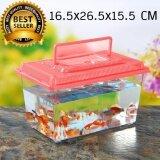 กล่องพลาสติกใส ฝาสีแดง ขนาด 16.5x26.5x15.5 CM  เหมาะสำหรับเลี้ยงแมลง สัตว์เล็ก กุ้ง ปลาสวยงาม ปลากัด