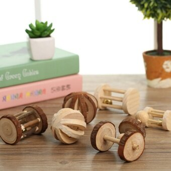 Harga Natural Wooden Pet Rabbits Hamsters Rat Dumbell Unicycle Bell Roller Chew Toy Small Bell Wheel - intl