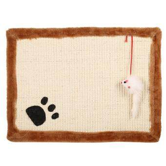 Harga Cat Kitten Funny Scratcher Training Pad Bed Sofa Claws Scratching Sisal Toy Mat- Beige - intl