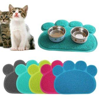 Harga Dog Puppy Paw Shape PVC Placemat Pet Cat Dish Bowl Feeding Food Mat Wipe Clean - intl