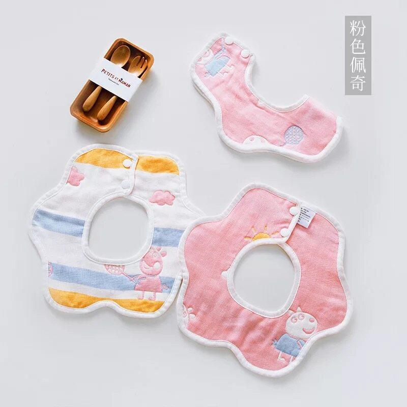 ผ้าซับน้ำลายสำหรับเด็กแบบรอบคอแต่งโบว์HD01