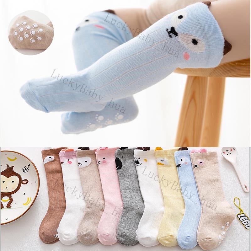 ถุงเท้าเด็กรุ่นยาวถึงเข่า ลายน่ารัก มีกันลื่น ระบายอากาศ ถุงเท้าเด็กอ่อน ถุงเท้ายาว w21