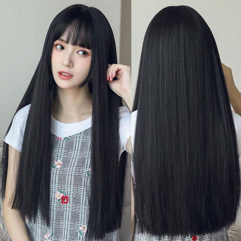 ผมยาวสีดำผมตรงยาวปานกลางสีดำธรรมชาติ 70cm.