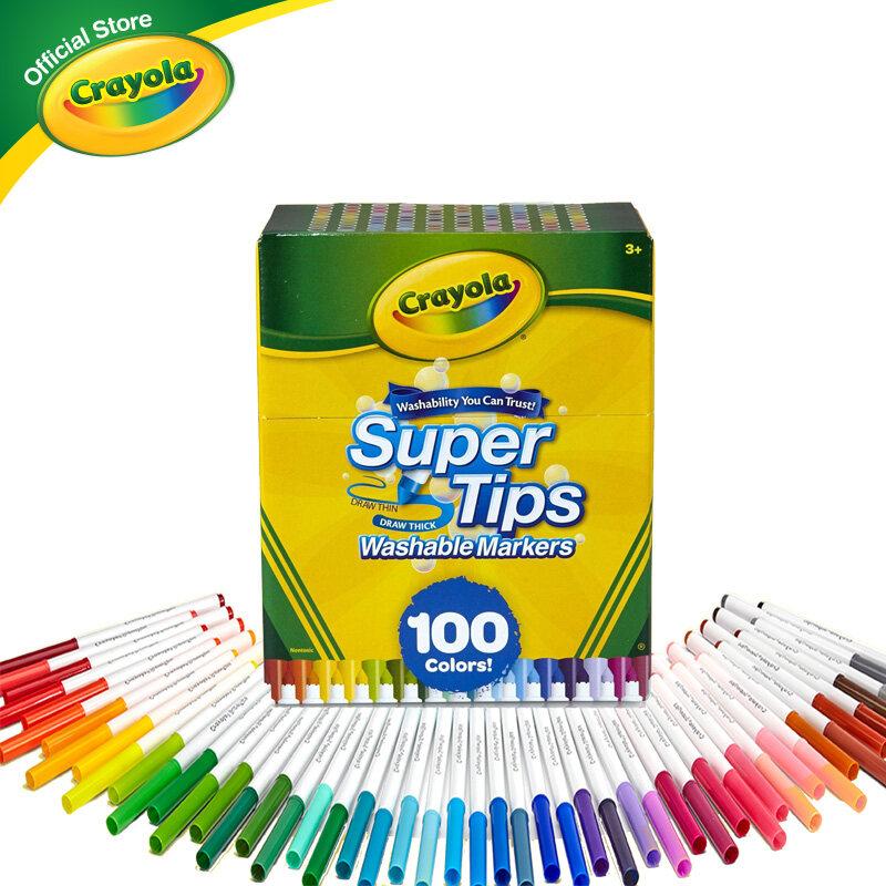 Crayola Supertips เครโยล่า สีเมจิกล้างออกได้ ซุปเปอร์ทิปส์ 100 สี สำหรับเด็ก อายุ 3 ปี ขึ้นไป Super Tips สีเมจิก เมจิก สีเมจิกล้างออกได้.