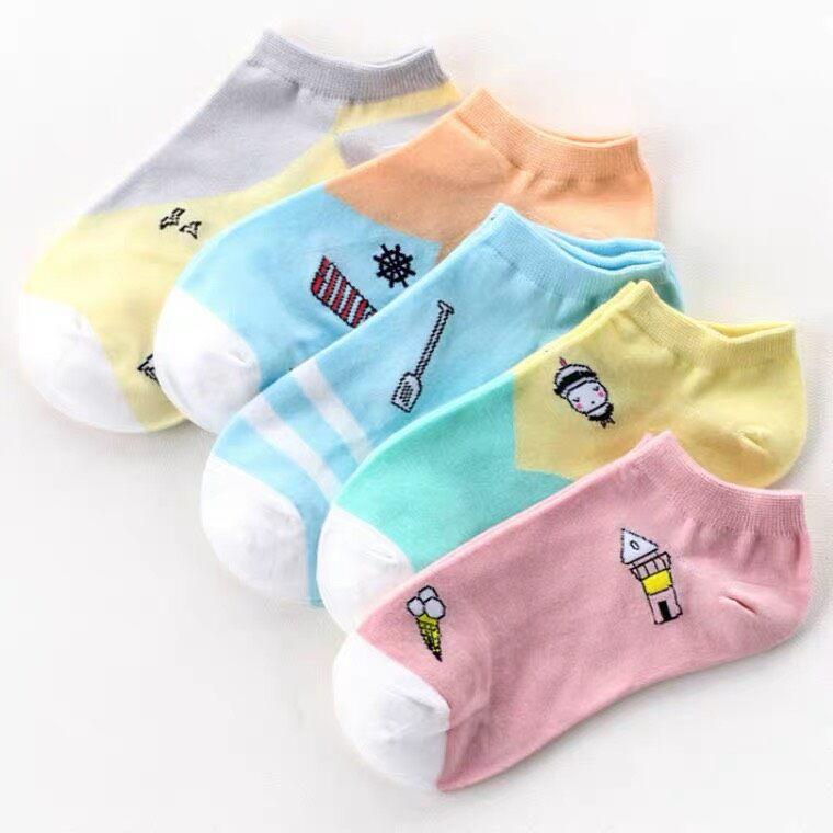 พร้อมส่ง!!!ถุงเท้าข้อสั้นผู้หญิง ลายหมี (1ถุงมี5คู่) แถมถุงหมีแฟชั่นน่ารัก.