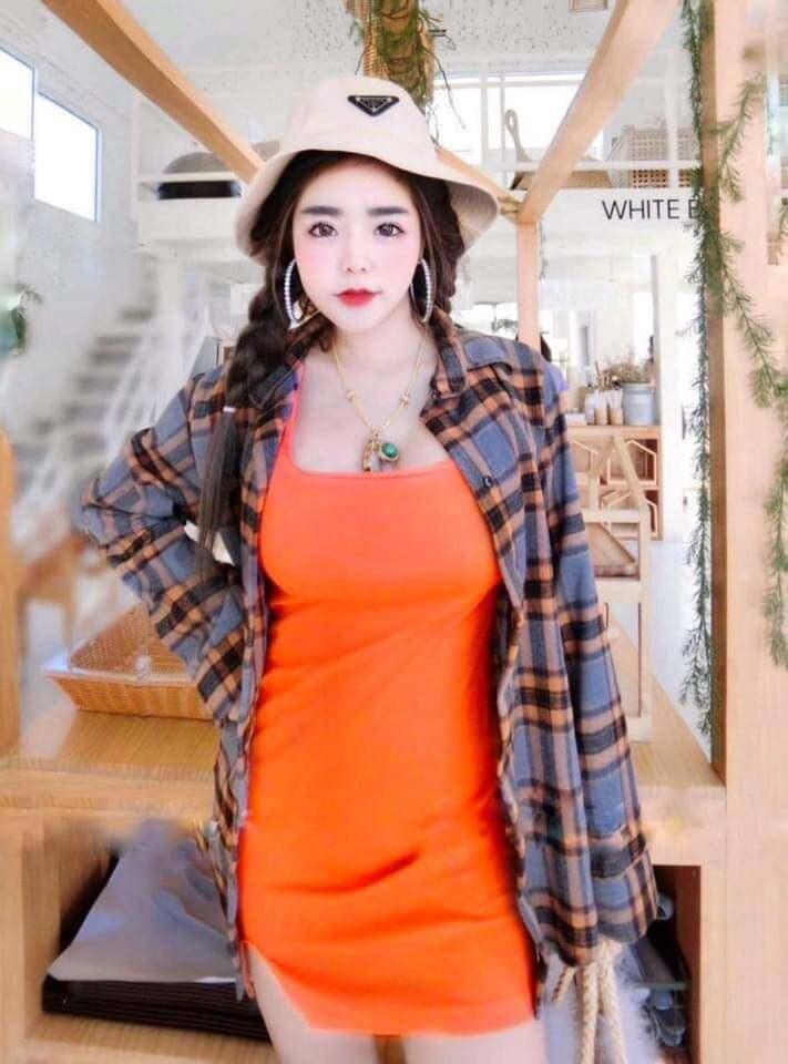 เดรสพร้อมเสื้อสก๊อต สีส้ม งานกระแส ? ตัวนอกผ้าฝ้าย ตัวในผ้าเรย่อน