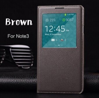 Asuwish Smart View Leather Flip Case For Samsung Galaxy Note 3 Note3 N900 N9000 N9005 Sleep Wake Back Cover With Chip Phone Case - intl