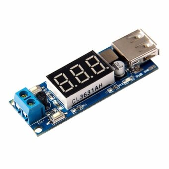 DC DC Step Down Converter LED Display Voltmeter + 5 V USB ChargerPower Supply Module Board Step-down Buck Port 6.5-40V To 5V 2A -intl