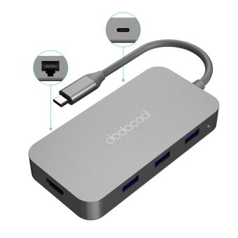 dodocool 6-in-1 Aluminum Alloy Multifunction USB-C Hub with Type-C Power Delivery 4K Video HD Output Port Gigabit Ethernet Adapter and 3 SuperSpeed USB 3.0 Ports for MacBook/MacBook Pro/Google Chromebook Pixel and More Dark Gray - intl