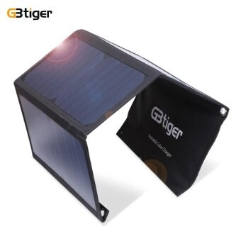 Gbtiger 21w Portable Sunpower Solar Charger Panel Dual Usb(Black) - intl